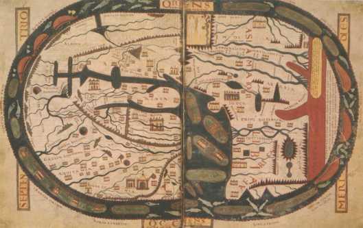 Weltkarte: Im Anschluss an die Vision von den sieben Leuchtern folgt der umfangreiche Prolog des zweiten Buches (De ecclesia et synagoga), in dem ein Einschub von den zwölf Aposteln und den Ländern und Weltteilen handelt, die diese missionierten. Im Gegensatz zu der in manchen Codices vorhandenen kleinen Skizze der Weltkarte in der Genealogie füllt diese Miniatur zwei Seiten. Die vom Ozean umflossene Erde ist oval, von annähernd kreisförmig (Beatus von Turin) bis nahezu rechteckig (Silos-Beatus, Beatus von Girona). Der Osten (oriens) ist oben und enthält eine Darstellung des irdischen Paradieses mit dem Sündenfall. Rechts befindet sich das Rote Meer, das auch in roter Farbe gemalt ist; südlich (rechts) davon liegt die terra incognita, die manchmal mit Fabelwesen wie Skiapoden bevölkert ist (z. B. Beatus von Burgo de Osma). Links unten liegt Europa, nördlich des stilisierten Mittelmeers; rechts von diesem liegt Afrika. Diese Form der Weltkarte geht auf Isidor zurück und beruht wahrscheinlich auf älteren Vorbildern. Wikipedia: Beatus